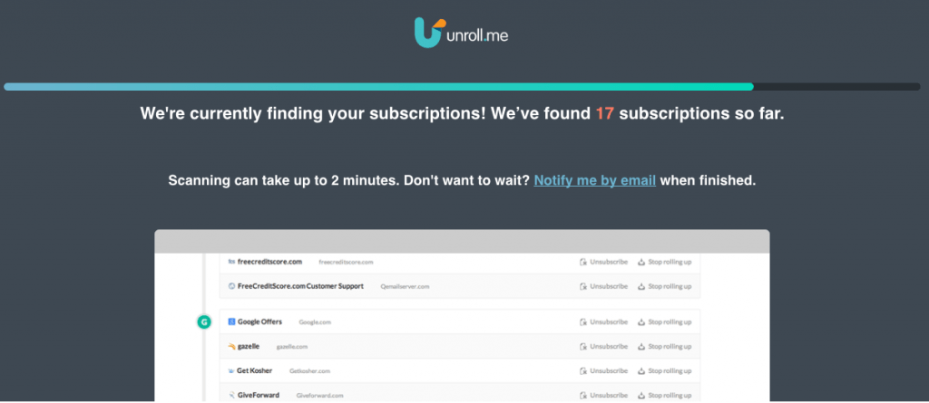 Unroll.me to stop spam on your computer