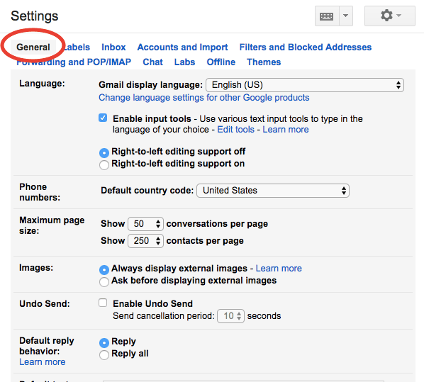 Gmail settings - general